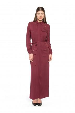 فستان نسائي بياقة رسمية - خمري