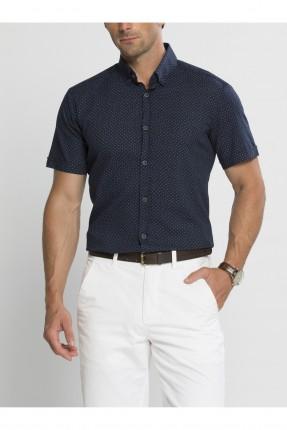 قميص رجالي نص كم - كحلي