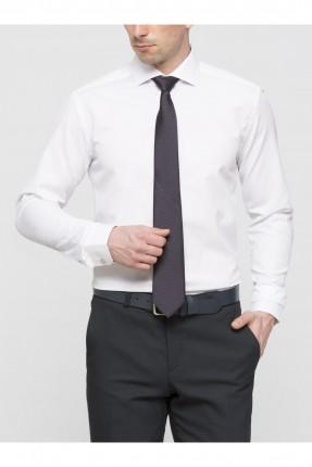 قميص رجالي كم طويل ياقة بولو - ابيض