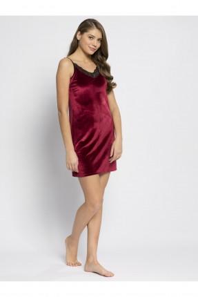 فستان بيجاما نسائية مخمل - خمري