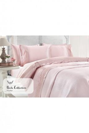 طقم غطاء سرير مزدوج فاخر  / 3 قطع / وردي