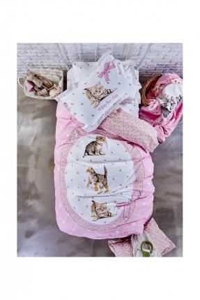 طقم غطاء لحاف وردي / 3 قطع / سرير مفرد