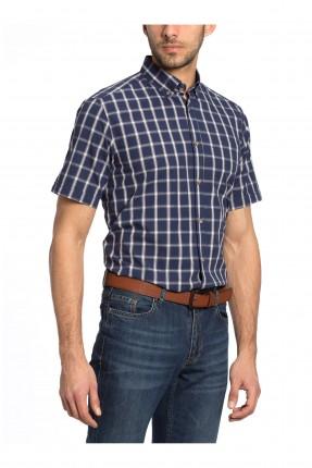 قميص رجالي نص كم كارو - كحلي