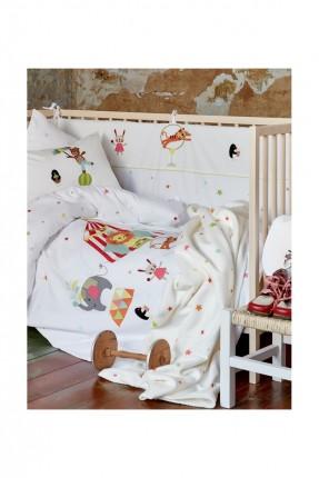 طقم غطاء سرير رسومات / 3 قطع / ابيض