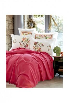 طقم سرير مزدوج / 4 قطع / غطاء فوشي