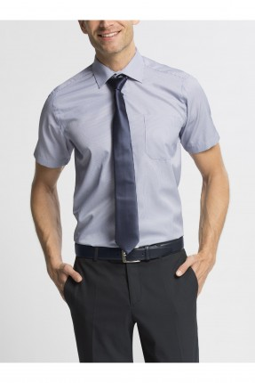 قميص رجالي نص كم - ازرق فاتح