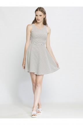 فستان نسائي مقلم - اسود