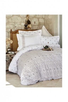 طقم غطاء لحاف زخرفة بيج / 3 قطع / سرير مزدوج