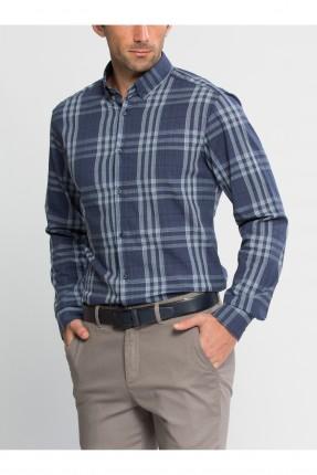 قميص رجالي كارو - نيلي