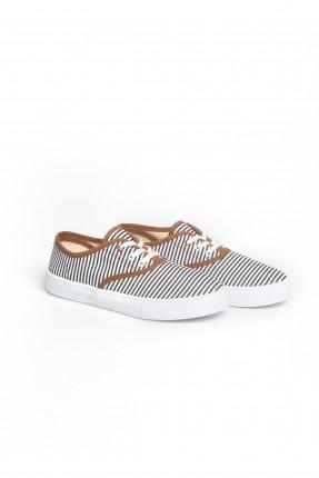 حذاء نسائي مقلم - ازرق داكن