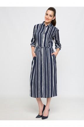 فستان نسائي طويل بياقة رسمية - نيلي