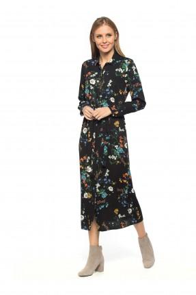 فستان نسائي بنقشة الورود - اسود