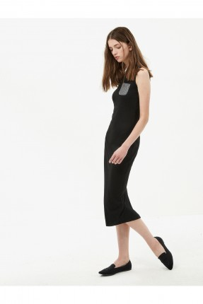 فستان نسائي مع جيب - اسود