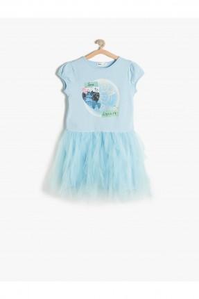 فستان اطفال بناتي مع كشكشة - ازرق