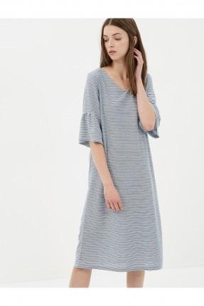 فستان نسائي مقلم - ازرق