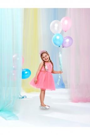 فستان اطفال بناتي مع كشكة - وردي