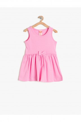 فستان اطفال بناتي مع ببيونة - وردي