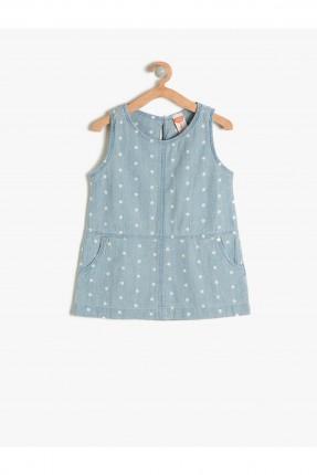 فستان بيبي بناتي منقط - ازرق