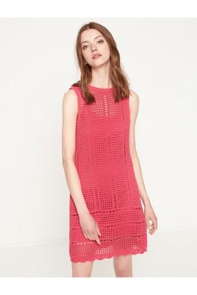 فستان نسائي مفرغ - وردي