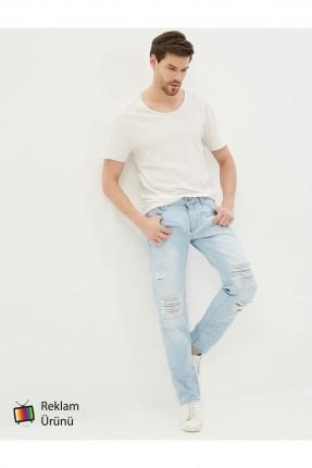 بنطال رجالي جينز مع شقوق - ازرق فاتح