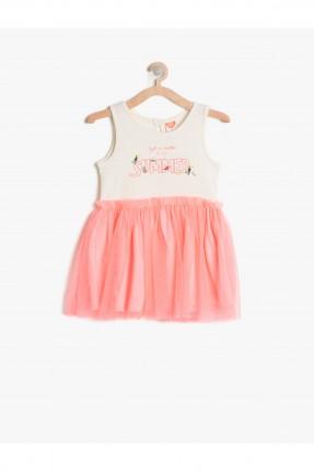 فستان اطفال بناتي مع كشكشة - وردي
