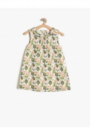 فستان اطفال بناتي مزخرف - اخضر