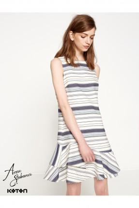 فستان نسائي مخطط - ازرق