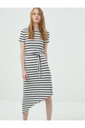 فستان نسائي نصف كم - ابيض