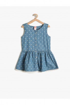فستان اطفال بناتي منقط - نيلي