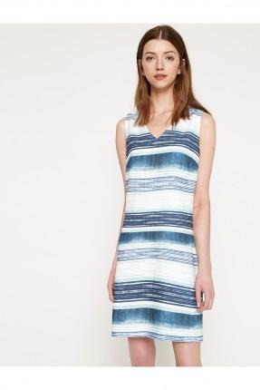 فستان نسائي حفر مخطط - نيلي