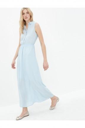 فستان نسائي بياقة قميص - ازرق