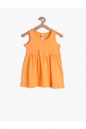 فستان اطفال بناتي مع ببيونة - برتقالي