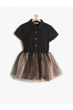 فستان اطفال بناتي مع كشكشة شيفون - اسود