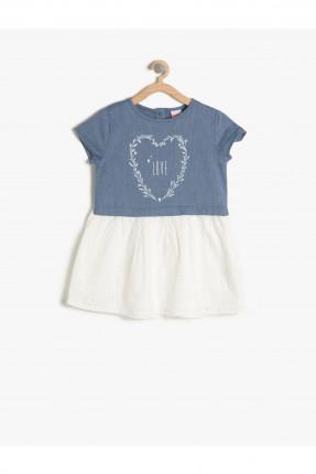 فستان اطفال بناتي مع طبعة - ازرق