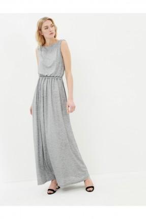 فستان نسائي حفر - رمادي