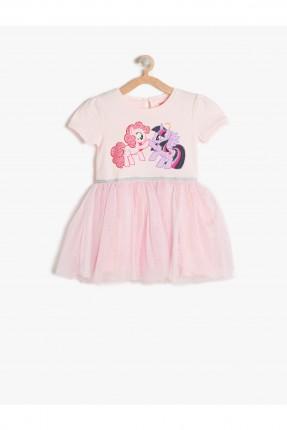 فستان اطفال بناتي مع طبعة - وردي