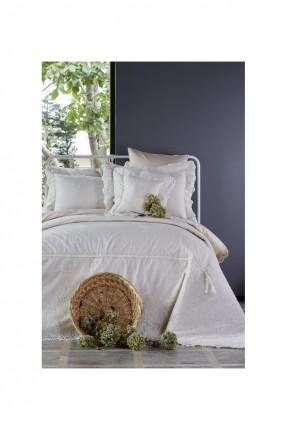 طقم غطاء سرير مزدوج فاخر دانتيل / 3 قطع / ابيض