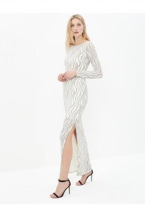 فستان نسائي كم طويل - ابيض