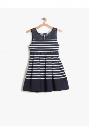 فستان اطفال بناتي مقلم - كحلي