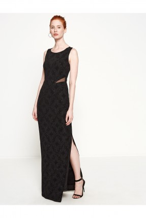 فستان نسائي بفتحة جانبية - اسود