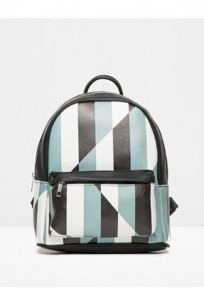 حقيبة ظهر جلد نسائية - ازرق