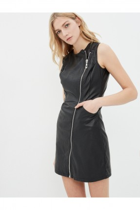 فستان نسائي جلد مع سحاب - اسود