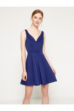 فستان نسائي ياقة v - ازرق