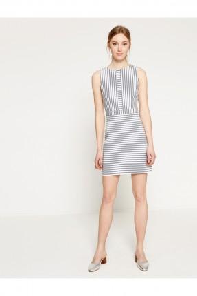فستان نسائي مخطط - نيلي