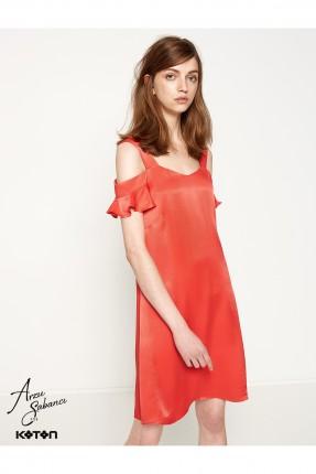فستان نسائي مفتوح الاكتاف - احمر