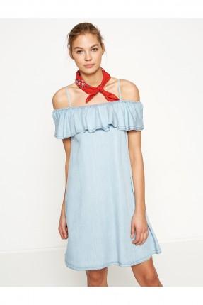 فستان نسائي شيال مكشكش - ازرق