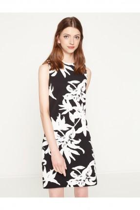 فستان نسائي بنقشة الزهور - اسود