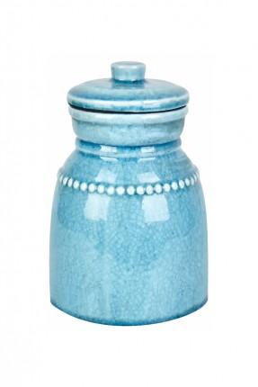 فازة سيراميك مع غطاء  - ازرق