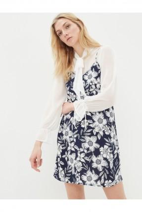 فستان نسائي بنقشات - نيلي
