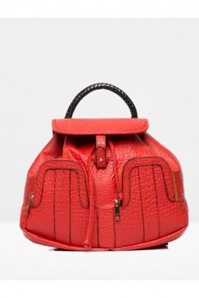 حقيبة ظهر جلد نسائية - احمر